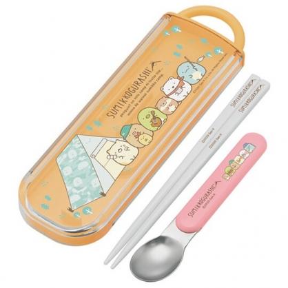 小禮堂 角落生物 日製 滑蓋兩件式餐具組 匙筷 兒童餐具 環保餐具 (橘 露營)