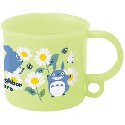 小禮堂 龍貓 日製 單耳塑膠杯 兒童水杯 漱口杯 小水杯 200ml Ag+ (綠 雛菊)