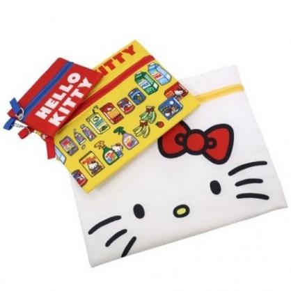 小禮堂 Hello Kitty 帆布扁平收納包組 帆布化妝包 文具袋 零錢包 (3入 紅黃 大臉)