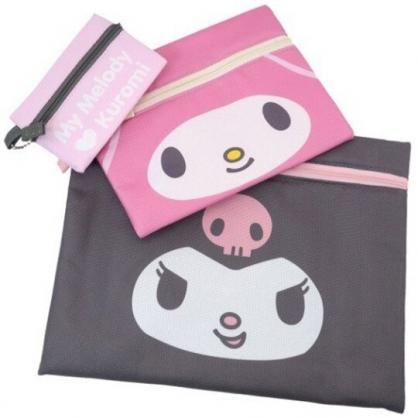小禮堂 Sanrio大集合 帆布扁平收納包組 帆布化妝包 文具袋 零錢包 (3入 粉灰 大臉)