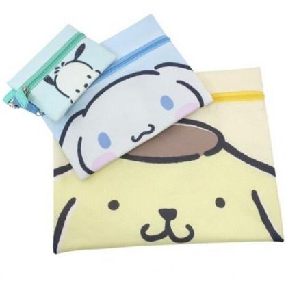 小禮堂 Sanrio大集合 帆布扁平收納包組 帆布化妝包 文具袋 零錢包 (3入 黃藍 大臉)