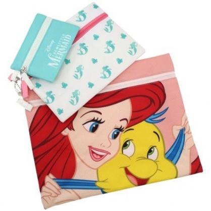 小禮堂 迪士尼 小美人魚 帆布扁平收納包組 帆布化妝包 文具袋 零錢包 (3入 粉綠 牽手)