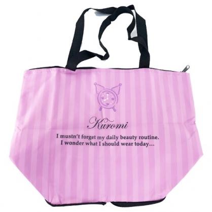 小禮堂 酷洛米 折疊尼龍環保購物袋 保冷環保袋 保冷提袋 野餐袋 (紫 條紋)