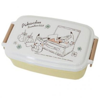 小禮堂 神奇寶貝 日製 方形微波便當盒 雙扣便當盒 塑膠便當盒 保鮮盒 530ml (白黃 提籃)