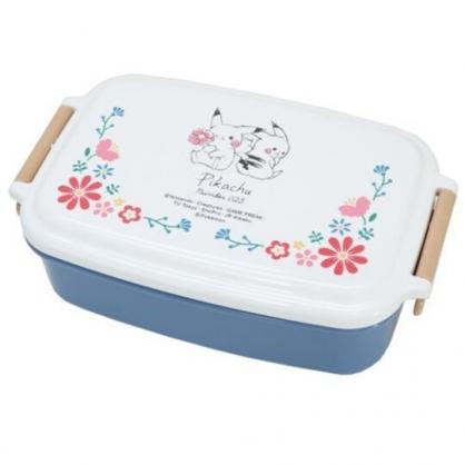 小禮堂 神奇寶貝 日製 方形微波便當盒 雙扣便當盒 塑膠便當盒 保鮮盒 530ml (白藍 兩隻)