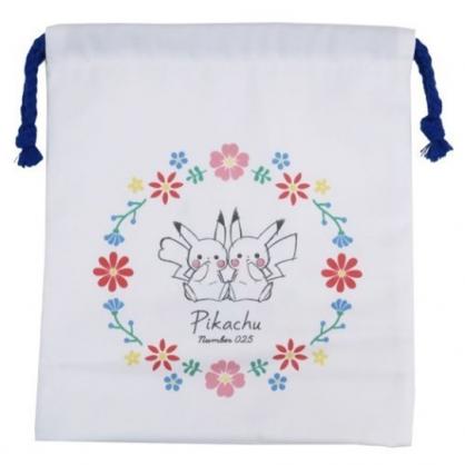 小禮堂 神奇寶貝 棉質束口袋 旅行收納袋 文具袋 小物袋 縮口袋 (白藍 兩隻)