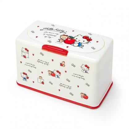 小禮堂 Hello Kitty 方形按壓彈蓋口罩盒 塑膠口罩盒 口罩收納盒 面紙盒 (米 滿版)