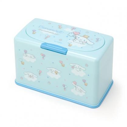 小禮堂 大耳狗 方形按壓彈蓋口罩盒 塑膠口罩盒 口罩收納盒 面紙盒 (藍 滿版)