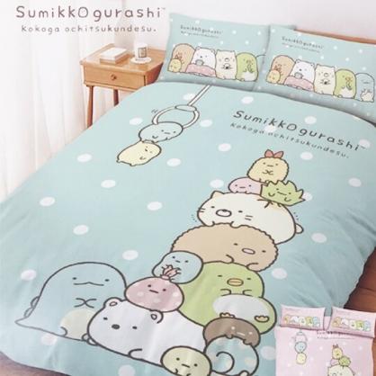 小禮堂 角落生物 單人床包組 床套 床罩 床單 枕頭套 寢具組 3.5x6.2尺 (綠 夾夾樂)