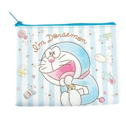 小禮堂 哆啦A夢 皮質扁平收納包 皮質化妝包 文具包 小物包 (藍 直紋)