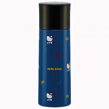 小禮堂 Hello Kitty 旋轉蓋不鏽鋼保溫瓶 兒童水壺 隨身瓶 超輕量不鏽鋼 360ml (深藍 側坐)