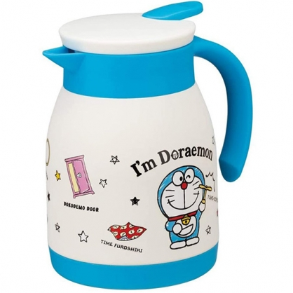 小禮堂 哆啦A夢 單耳不鏽鋼茶壺 熱水壺 咖啡壺 飲料壺 保溫壺 600ml (藍白 道具)