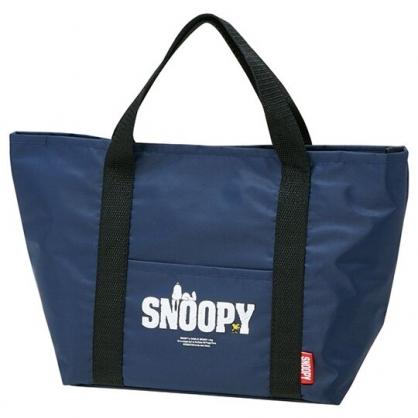 小禮堂 史努比 尼龍保冷便當袋 保冷提袋 野餐袋 手提袋 可拆內裡 (藍 LOGO)