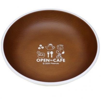 小禮堂 史努比 日製 仿木紋圓盤 沙拉盤 點心盤 塑膠盤 兒童餐盤 (棕 cafe)