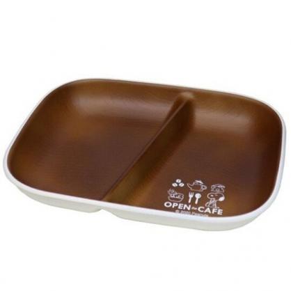 小禮堂 史努比 日製 仿木紋方形雙格餐盤 塑膠餐盤 沙拉盤 兒童餐盤 (棕 cafe)