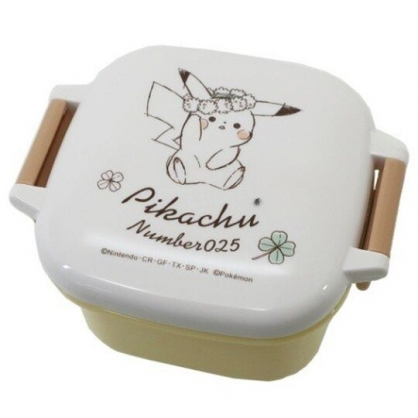 小禮堂 神奇寶貝 日製 迷你微波保鮮盒 雙扣保鮮盒 塑膠保鮮盒 便當盒 160ml (黃白 花圈)