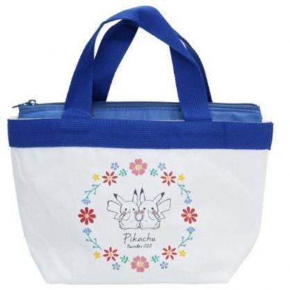 小禮堂 神奇寶貝 帆布保冷便當袋 保冷提袋 野餐袋 手提袋 可拆內裡 (白藍 兩隻)