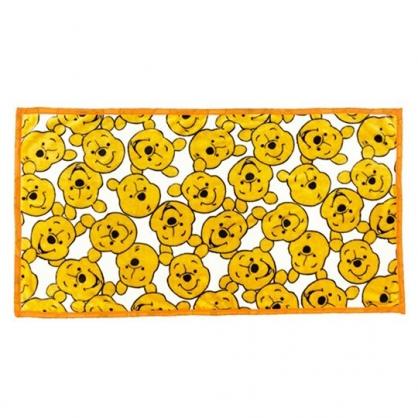 小禮堂 迪士尼 小熊維尼 圓角毛毯披肩 單人毯 薄毯 蓋毯 80x150cm (黃 滿版)