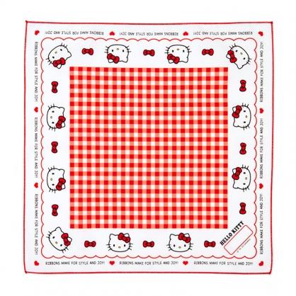 小禮堂 Hello Kitty 日製 純棉紗布便當包巾 餐巾 手帕 桌巾 桌墊 43x43cm (紅白 格紋)