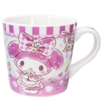 小禮堂 美樂蒂 陶瓷馬克杯 寬口杯 咖啡杯 陶瓷杯 (粉白 花束)