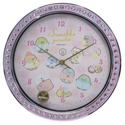 小禮堂 角落生物 連續秒針圓形壁掛鐘 時鐘 壁鐘 圓鐘 (紫 鑽石框)
