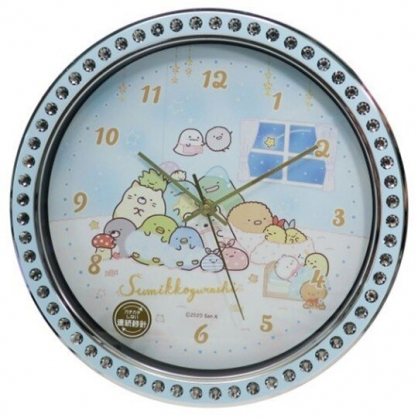 小禮堂 角落生物 連續秒針圓形壁掛鐘 時鐘 壁鐘 圓鐘 (藍 鑽石框)