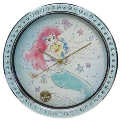 小禮堂 迪士尼 小美人魚 連續秒針圓形壁掛鐘 時鐘 壁鐘 圓鐘 (綠 鑽石框)