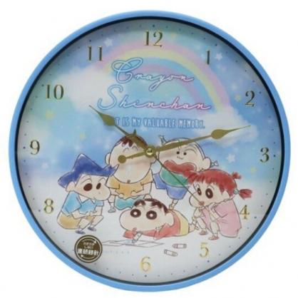 小禮堂 蠟筆小新 連續秒針圓形壁掛鐘 時鐘 壁鐘 圓鐘 (藍 彩虹)