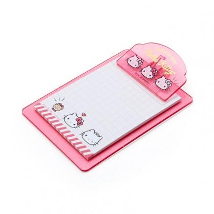 小禮堂 Hello Kitty 迷你塑膠文件板夾 附便條紙 便條夾 留言板夾 (粉 大臉文具)