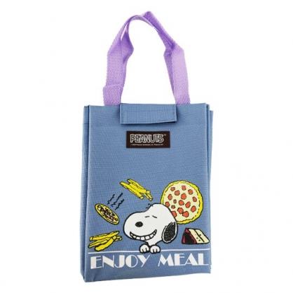 小禮堂 史努比 直式尼龍保冷便當袋 保冷提袋 保溫袋 野餐袋 (藍 比薩)