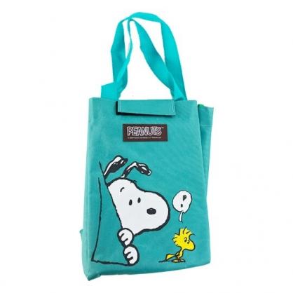 小禮堂 史努比 直式尼龍保冷便當袋 保冷提袋 保溫袋 野餐袋  (綠 探頭)
