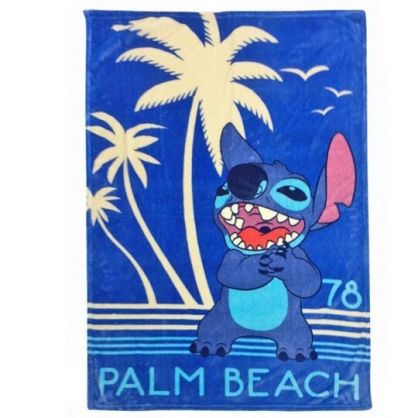 小禮堂 迪士尼 史迪奇 法蘭絨毛毯披肩 單人毯 薄毯 蓋毯 100x150cm (藍 沙灘)
