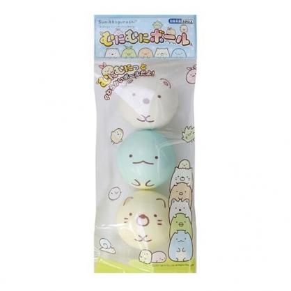 小禮堂 角落生物 彈力球玩具組 皮球 玩具球 戶外玩具 (3入 藍黃 大臉)