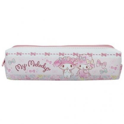 小禮堂 美樂蒂 皮質拉鍊細筆袋 皮質筆袋 鉛筆盒 鉛筆袋 (粉 蝴蝶結)