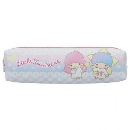 小禮堂 雙子星 皮質拉鍊細筆袋 皮質筆袋 鉛筆盒 鉛筆袋 (粉藍 蕾絲)