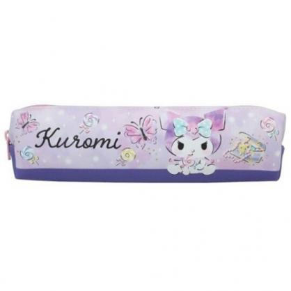 小禮堂 酷洛米 皮質拉鍊細筆袋 皮質筆袋 鉛筆盒 鉛筆袋 (紫 蝴蝶)