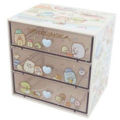 小禮堂 角落生物 塑膠三抽收納盒 透明抽屜盒 飾品盒 文具盒 (黃 釣魚)