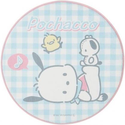 小禮堂 帕恰狗 圓形絨毛吸水腳踏墊 止滑地墊 浴室地墊 地毯 (藍 格紋)