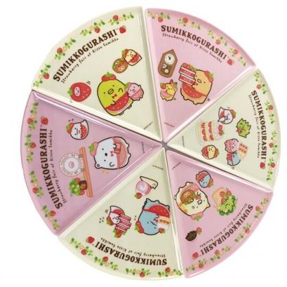 小禮堂 角落生物 可拆式美耐皿圓形比薩盤 三角比薩盤 水果盤 塑膠餐盤 (粉)