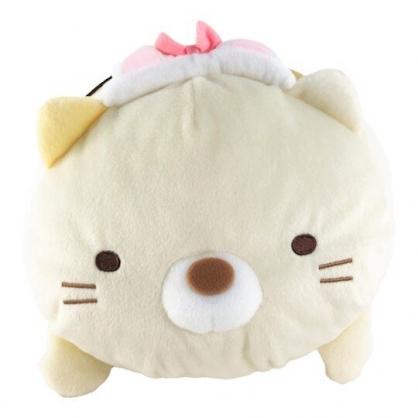 小禮堂 角落生物 貓咪 造型絨毛抱枕 絨毛靠枕 絨毛玩偶 午睡枕 (黃 造型帽)