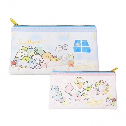 小禮堂 角落生物 皮質扁平拉鍊筆袋 皮質筆袋 鉛筆袋 鉛筆盒 (藍黃 窗戶)