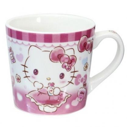 小禮堂 Hello Kitty 陶瓷馬克杯 寬口杯 咖啡杯 陶瓷杯 (粉 香水瓶)