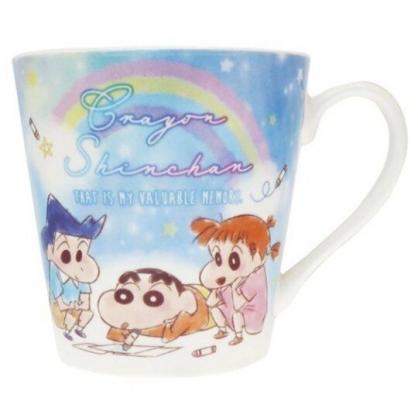 小禮堂 蠟筆小新 陶瓷馬克杯 寬口杯 咖啡杯 陶瓷杯 (藍 彩虹)