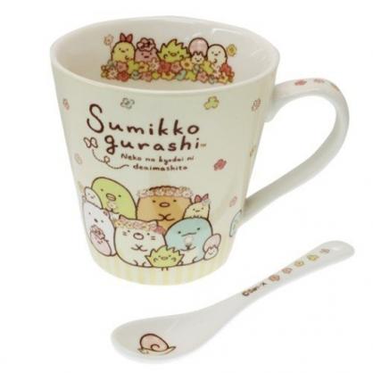 小禮堂 角落生物 陶瓷馬克杯 附湯匙 寬口杯 咖啡杯 陶瓷杯 (黃白 花圈)