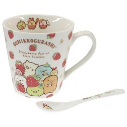 小禮堂 角落生物 陶瓷馬克杯 附湯匙 寬口杯 咖啡杯 陶瓷杯 (紅白 草莓)