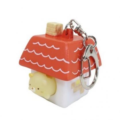 小禮堂 角落生物 貓咪 造型軟膠鑰匙圈 矽膠鑰匙圈 紓壓鑰匙圈 捏捏樂 (橘 房屋)