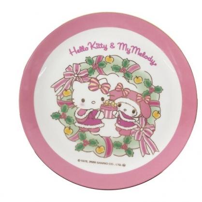 小禮堂 Sanrio大集合 陶瓷圓盤 沙拉盤 點心盤 陶瓷盤 (粉 聖誕洋裝)