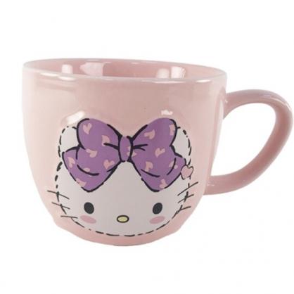 小禮堂 Hello Kitty 陶瓷馬克杯 胖胖杯 咖啡杯 陶瓷杯 330ml (粉紫 大臉)