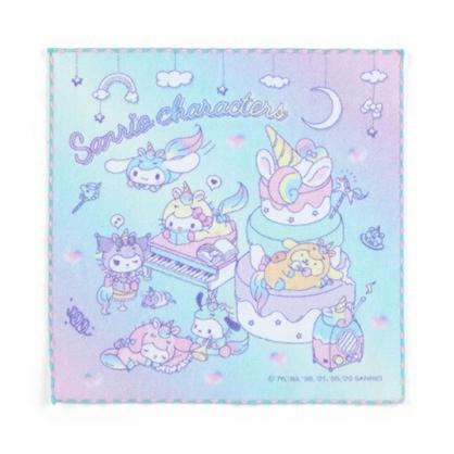 小禮堂 Sanrio大集合 純棉無捻紗方巾 純棉手帕 小毛巾 25x25cm (粉綠 糖果獨角獸)