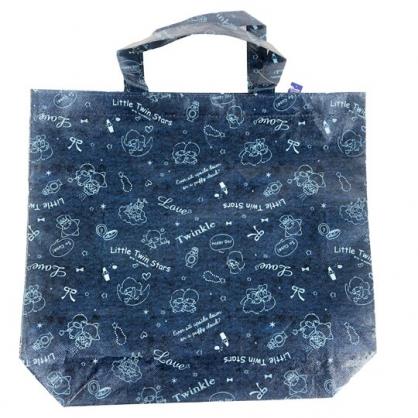 小禮堂 雙子星 直式防水購物袋 環保購物袋 環保袋 側背袋 銅板小物 (深藍 滿版)